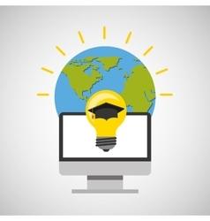 education online global idea cap graduated vector image