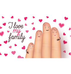 family day finger flat card vector image