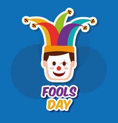 fools day greeting card vector image