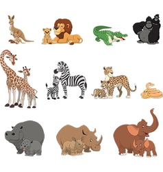 Funny kids animals and parents vector