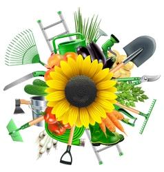 Garden Accessories with Sunflower vector image vector image