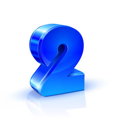 glossy blue two 2 number 3d on white vector image vector image