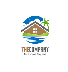 Green house and lake logo vector