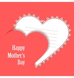 Happy motherss day card with lace heart vector