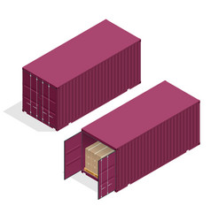 isometric large metal containers for vector image vector image