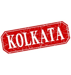 Kolkata red square grunge retro style sign vector