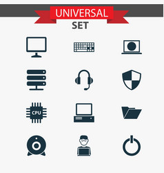 Laptop icons set collection of programmer vector