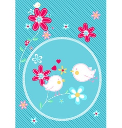 Little birds on flower floral embroidery vector