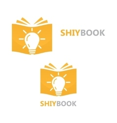 Logo combination of a book and light bulb vector