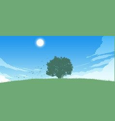 lonely tree on field vector image vector image