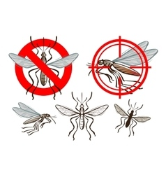 Mosquito and prohibiting sign vector