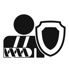 oken arm and safety shield icon outline style vector image