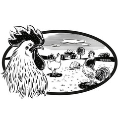 Oval frame with hens and rooster vector