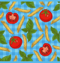 Pasta herbs and vegetables seamless pattern vector
