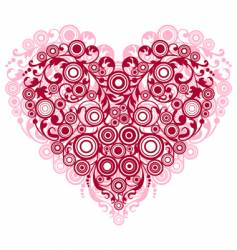 red heart with filigree ornament vector image vector image