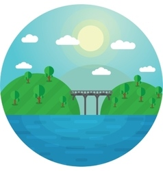Round landscape bridge between vector