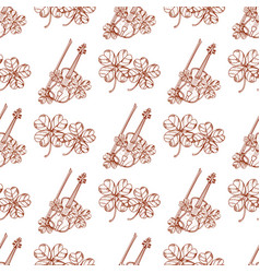 Seamless pattern with violin and leaf clover vector
