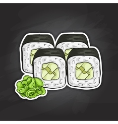 Sushi color sketch avocado roll vector