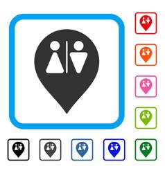 Toilet map marker framed icon vector
