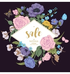 Vintage floral sale card with roses vector image vector image