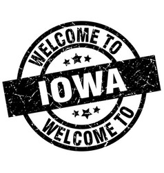 Welcome to iowa black stamp vector