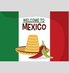 Welcome to mexico - flag nation hat vector