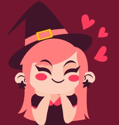 Witch girl in love vector
