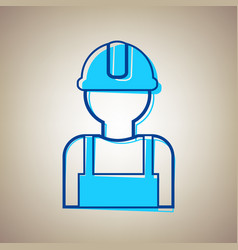 Worker sign sky blue icon with defected vector