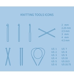 Knitting tool icon set minimalism neat outlines vector