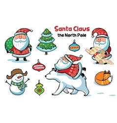 Set of santa claus with animals vector