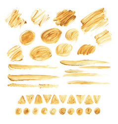 Large collection of brush strokes gold acrylic vector