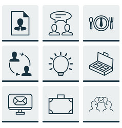 set of 9 business management icons includes cv vector image