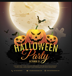 Scart halloween pumpkins party invitation vector