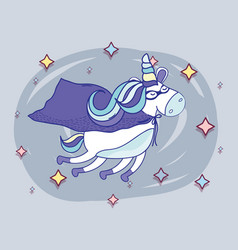 Beautiful super hero unicorn flying vector