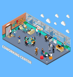 coworking center isometric interior vector image