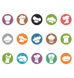Chef hat round button icons vector