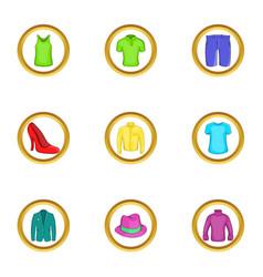Elegant clothes icon set cartoon style vector