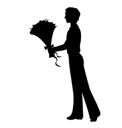 Silhouette of a man with flowers vector image