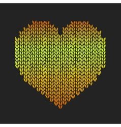 Seamless pattern with golden knitted heart on vector