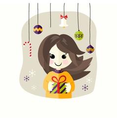 Christmas girl with present box vector