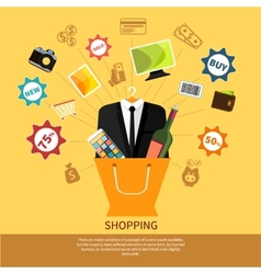 Online shopping bag with goods concept vector