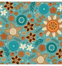 Scandinavian wild flowers seamless pattern vector