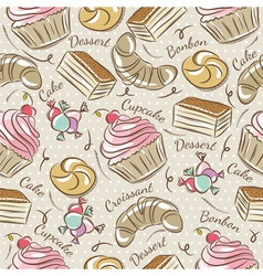 Background with cupcake croissan cake vector
