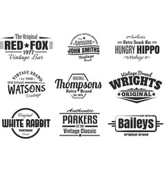 9 vintage retro insignias vector