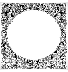 Round decorative frame from imaginary doodle vector