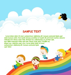 Kids enjoying rainbow vector