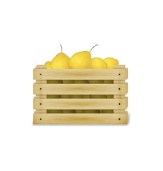 A wooden box with pears vector