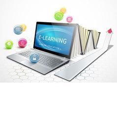 The concept of e-learning education online vector