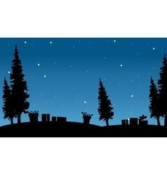 Silhouette of gift and spruce christmas vector