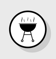 barbecue simple sign flat black icon in vector image
